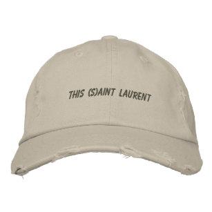 96559376545 Distressed loyal mobilization saint laurent sand embroidered baseball cap