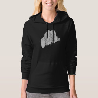 Distressed Maine State Outline Hoodie