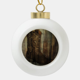 Distressed Man Cave Western Country Cowboy Boot Ceramic Ball Christmas Ornament