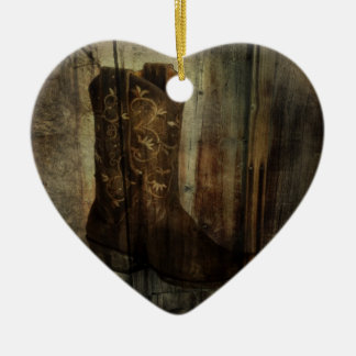 Distressed Man Cave Western Country Cowboy Boot Ceramic Ornament