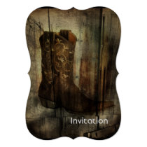 Distressed Man Cave Western Country Cowboy Boot Invitation