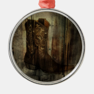 Distressed Man Cave Western Country Cowboy Boot Metal Ornament