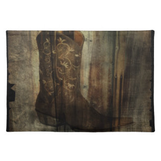 Distressed Man Cave Western Country Cowboy Boot Placemat