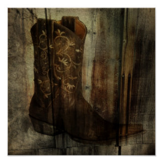 Distressed Man Cave Western Country Cowboy Boot Poster
