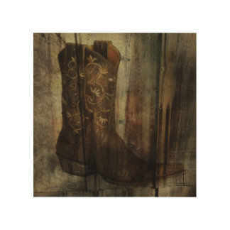 Distressed Man Cave Western Country Cowboy Boot Wood Wall Art