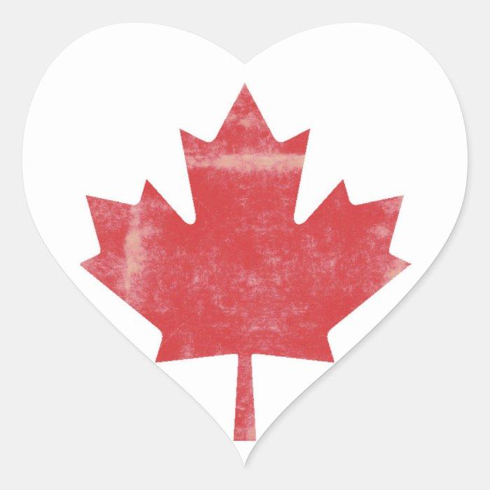 Distressed Maple Leaf Canada Heart Sticker