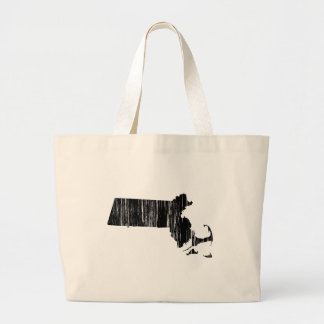 Distressed Massachusetts State Outline Large Tote Bag
