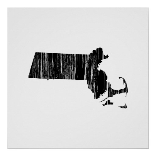 Distressed Massachusetts State Outline Posters