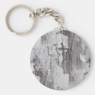Distressed Maui Whitewashed Oak Wood Grain Look Basic Round Button Keychain