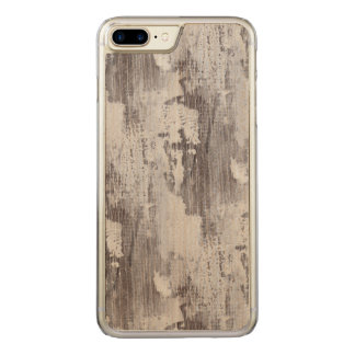 Distressed Maui Whitewashed Oak Wood Grain Look Carved iPhone 7 Plus Case