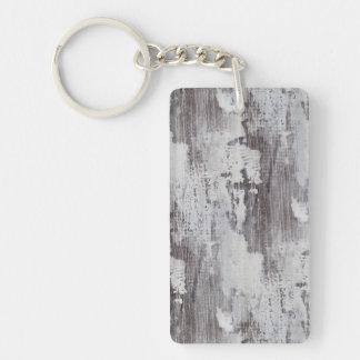 Distressed Maui Whitewashed Oak Wood Grain Look Double-Sided Rectangular Acrylic Keychain