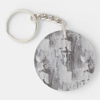 Distressed Maui Whitewashed Oak Wood Grain Look Double-Sided Round Acrylic Keychain