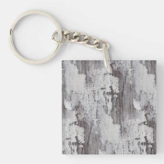 Distressed Maui Whitewashed Oak Wood Grain Look Double-Sided Square Acrylic Keychain