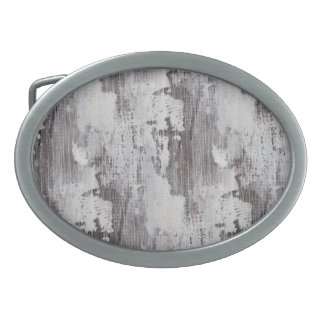 Distressed Maui Whitewashed Oak Wood Grain Look Oval Belt Buckle
