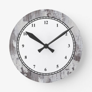 Distressed Maui Whitewashed Oak Wood Grain Look Round Clock