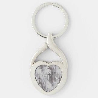 Distressed Maui Whitewashed Oak Wood Grain Look Silver-Colored Heart-Shaped Metal Keychain