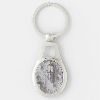 Distressed Maui Whitewashed Oak Wood Grain Look Silver-Colored Oval Metal Keychain