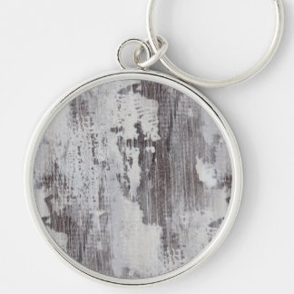 Distressed Maui Whitewashed Oak Wood Grain Look Silver-Colored Round Keychain