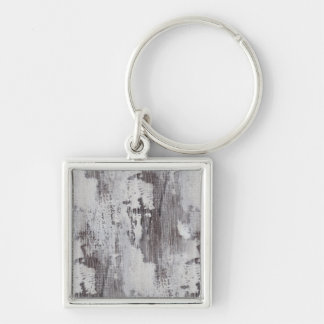 Distressed Maui Whitewashed Oak Wood Grain Look Silver-Colored Square Keychain
