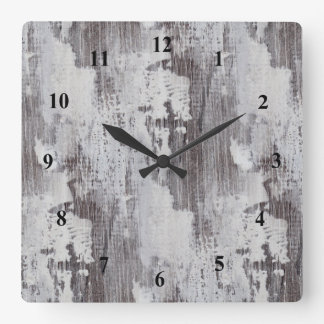Distressed Maui Whitewashed Oak Wood Grain Look Square Wall Clock