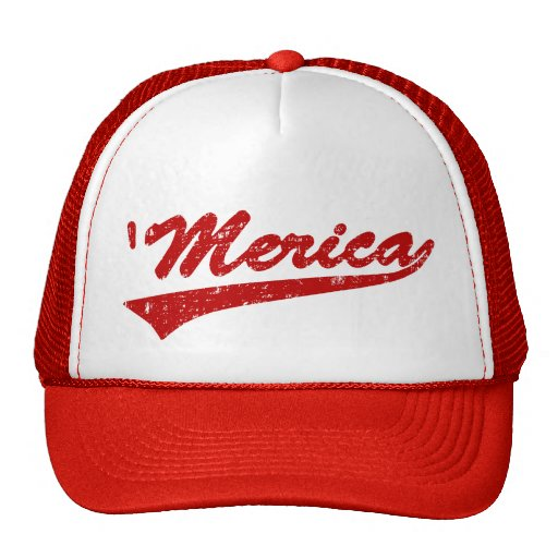 Distressed 'Merica Swoosh Trucker Hat (Red)