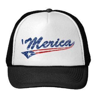 Distressed 'Merica US Flag Swoosh Trucker Hat