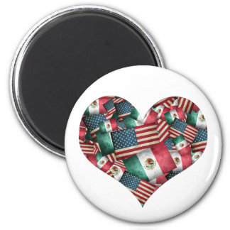 Distressed Mexican/American Flags  - Heart Shape Magnet