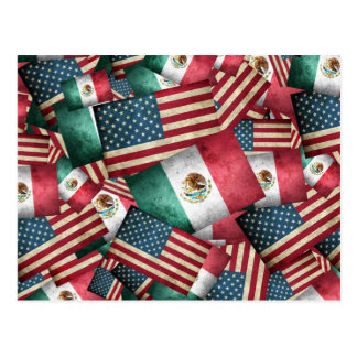 Distressed Mexican/American Flags  - US & Mexican Postcard