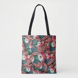 Distressed Mexican/American Flags  - US & Mexican Tote Bag
