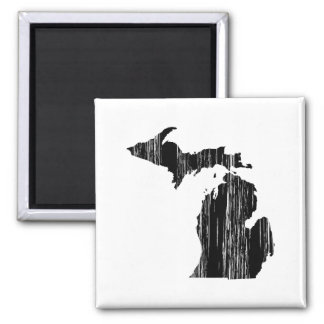 Distressed Michigan State Outline 2 Inch Square Magnet