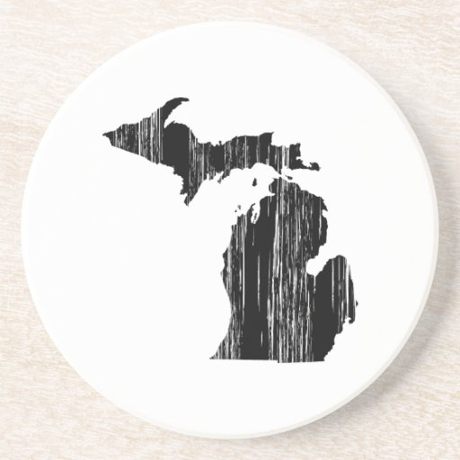 Distressed Michigan State Outline Drink Coasters