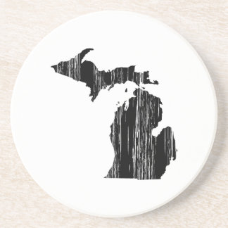 Distressed Michigan State Outline Sandstone Coaster