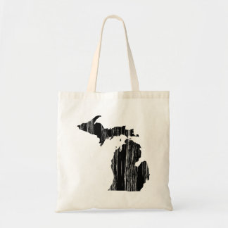 Distressed Michigan State Outline Tote Bag
