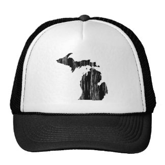 Distressed Michigan State Outline Trucker Hat