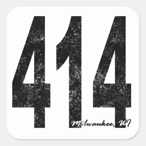 Distressed Milwaukee 414 Square Sticker