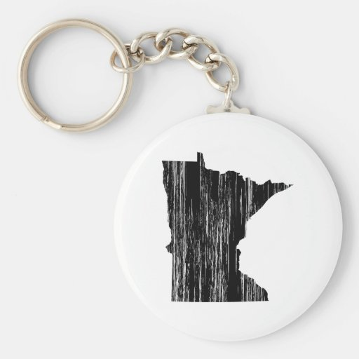 Distressed Minnesota State Outline Key Chains