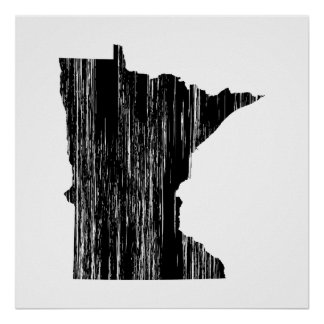Distressed Minnesota State Outline Posters