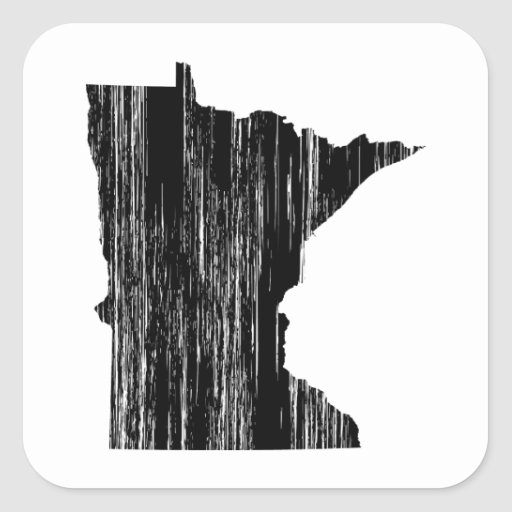 Distressed Minnesota State Outline Square Stickers