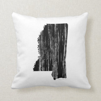 Distressed Mississippi State Outline Pillow