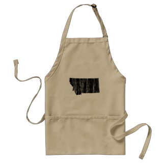 Distressed Montana State Outline Adult Apron