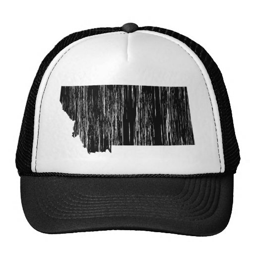 Distressed Montana State Outline Trucker Hats