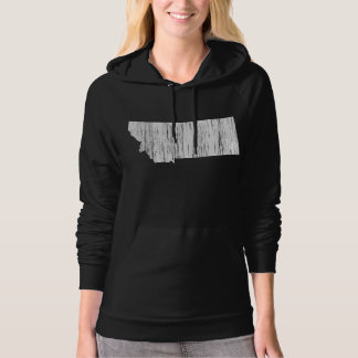Distressed Montana State Outline Hooded Sweatshirts