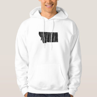 Distressed Montana State Outline Hoodie