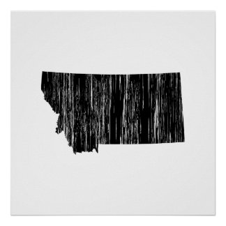 Distressed Montana State Outline Poster