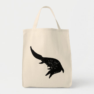 Distressed Mosasaurs Giganteus Silhouette Grocery Tote Bag