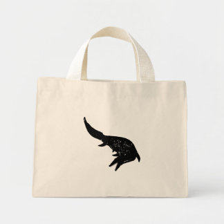 Distressed Mosasaurs Giganteus Silhouette Mini Tote Bag