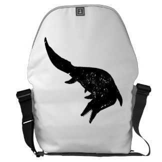 Distressed Mosasaurs Giganteus Silhouette Messenger Bag
