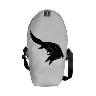Distressed Mosasaurs Giganteus Silhouette Courier Bags