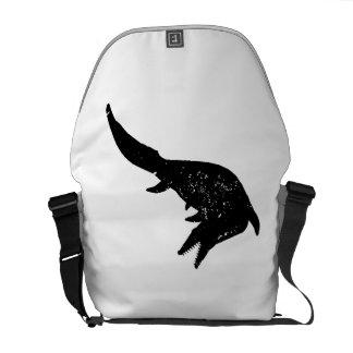 Distressed Mosasaurs Giganteus Silhouette Messenger Bags