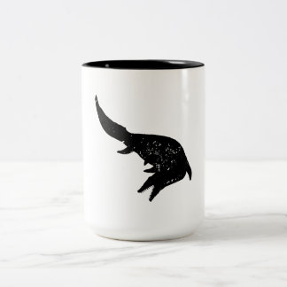 Distressed Mosasaurs Giganteus Silhouette Two-Tone Coffee Mug